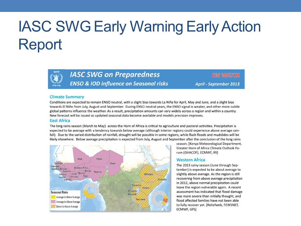 IASC SWG Early Warning Early Action Report