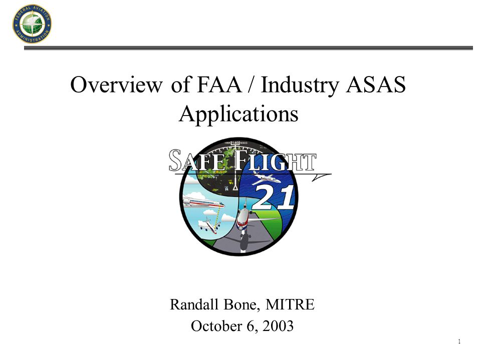 1 Overview of FAA / Industry ASAS Applications Randall Bone, MITRE October 6, 2003