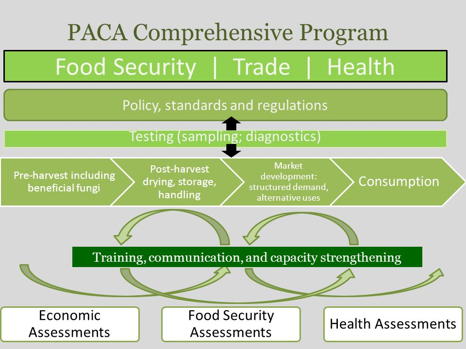 20 March 2012   Slide 24 Food Security   Trade   Health Testing (sampling; diagnostics) Training, communication, and capacity strengthening PACA Comprehensive Program Policy, standards and regulations
