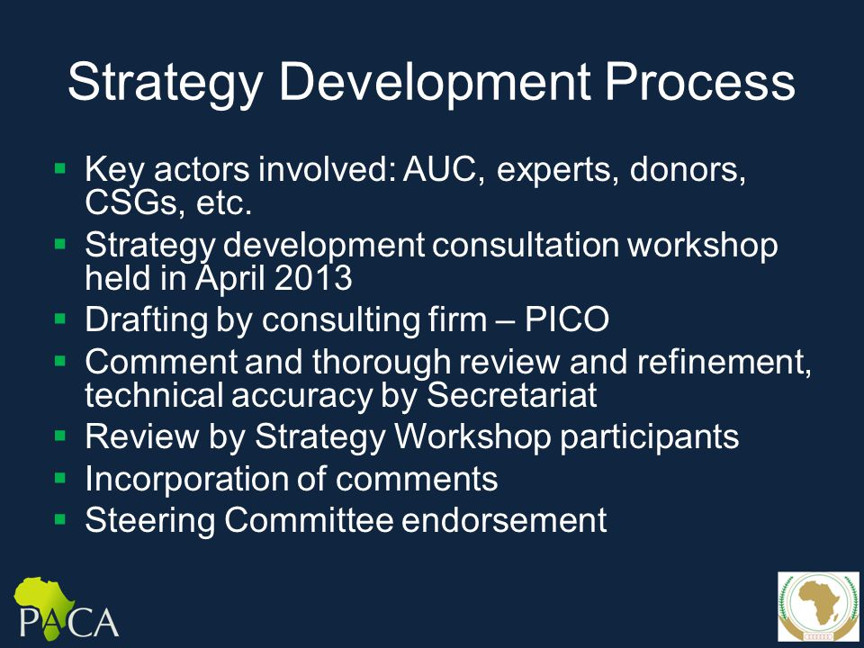 Strategy Development Process  Key actors involved: AUC, experts, donors, CSGs, etc.