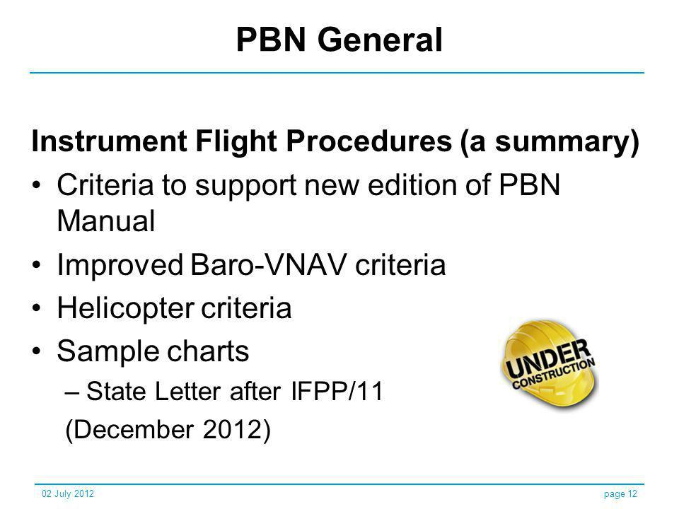 PBN General Instrument Flight Procedures (a summary) Criteria to support new edition of PBN Manual Improved Baro-VNAV criteria Helicopter criteria Sam