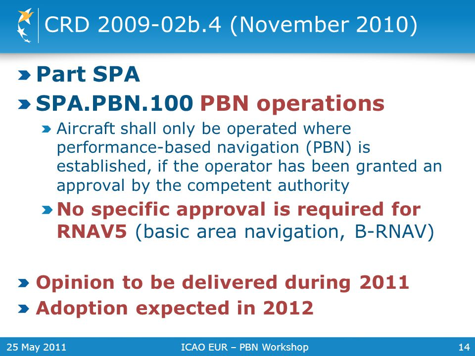 25 May 2011ICAO EUR – PBN Workshop14 CRD 2009-02b.4 (November 2010) Part SPA SPA.PBN.100 PBN operations Aircraft shall only be operated where performa
