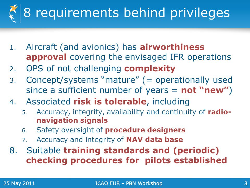 25 May 2011ICAO EUR – PBN Workshop3 8 requirements behind privileges 1. Aircraft (and avionics) has airworthiness approval covering the envisaged IFR