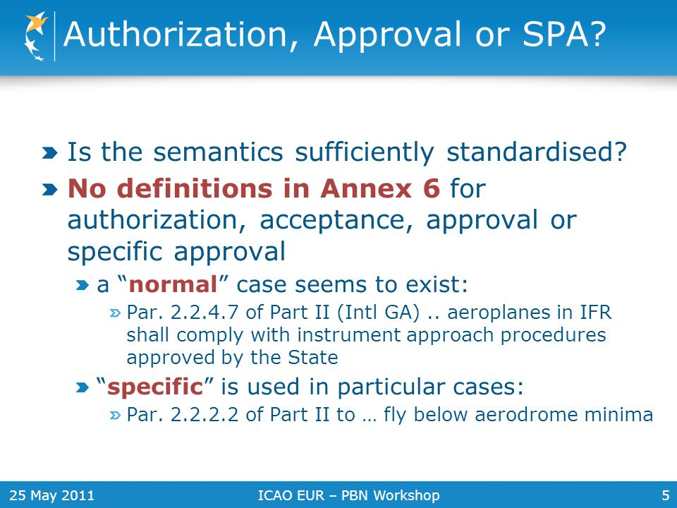 25 May 2011ICAO EUR – PBN Workshop6 General authorization through rules Par 2.3.1.1 Annex 6 Part II An aeroplane shall be operated: a) In compliance with the terms of its airworthiness certificate or equivalent b) Within the operating limitations prescribed by the certifying authority of the State of Registry c) ….