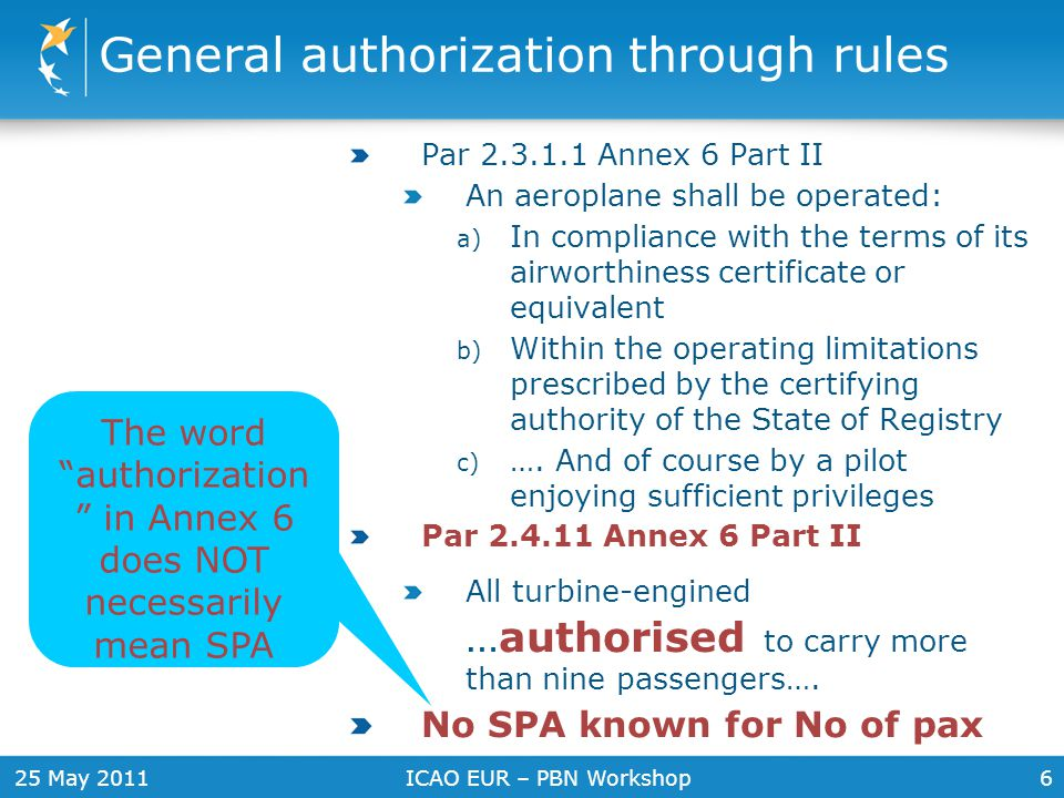 25 May 2011ICAO EUR – PBN Workshop7 Is approval always specific .