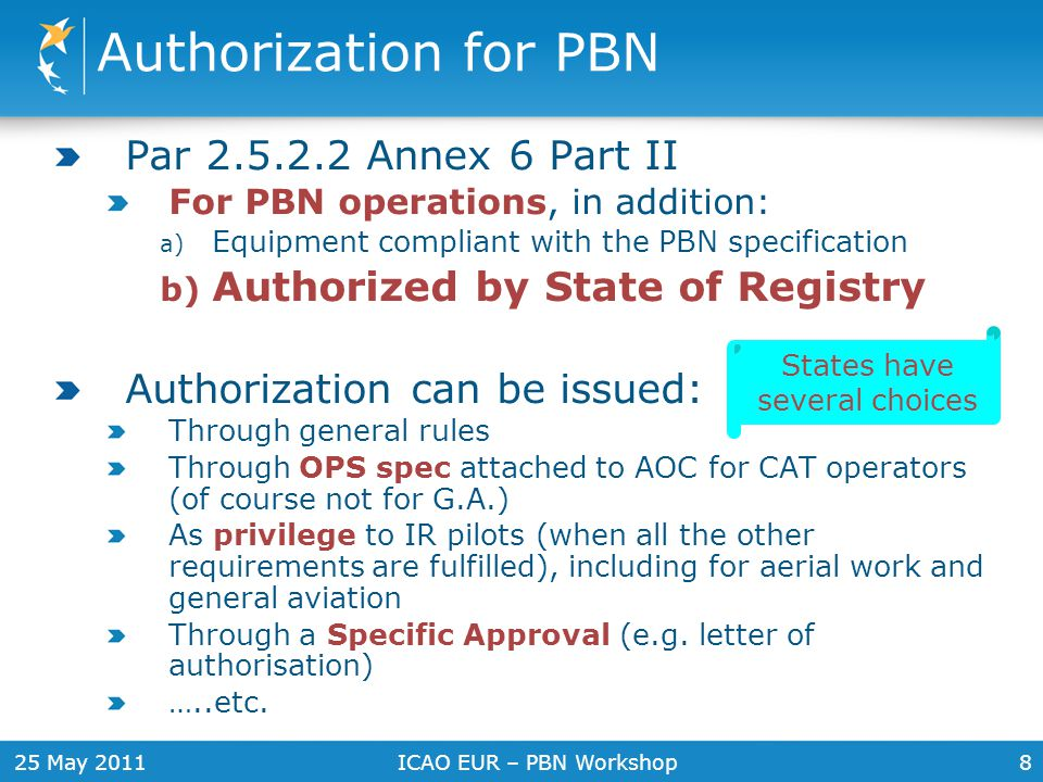 25 May 2011ICAO EUR – PBN Workshop8 Authorization for PBN Par 2.5.2.2 Annex 6 Part II For PBN operations, in addition: a) Equipment compliant with the