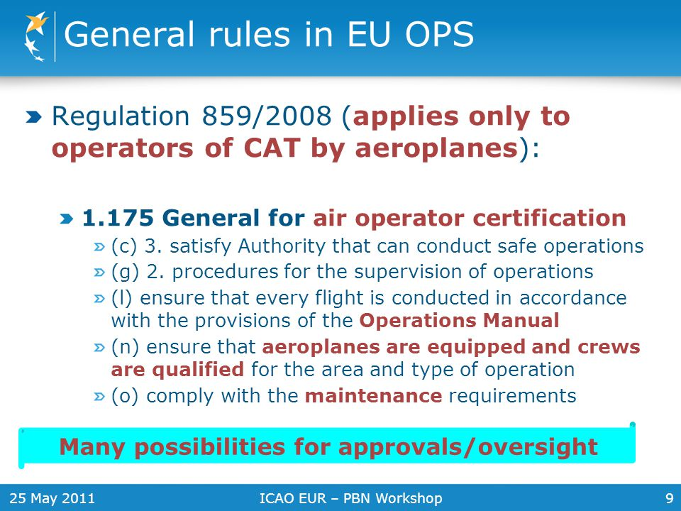 25 May 2011ICAO EUR – PBN Workshop10 Appendix 1 to EU OPS 1.175 Contents of the Air Operator Certificate: (c) Description of the type of operations authorised (f) Authorised areas of operation (g) Special limitations (h) Special authorisations/approvals e.g.: CAT II/CAT III (including approved minima) (MNPS) Minimum navigation performance specifications (ETOPS) Extended range operation twin engined aeroplanes (RNAV) Area navigation (RVSM) Reduced vertical separation minima Transportation of dangerous goods Authorisation to provide cabin crew safety training Normal authorization or special approval are almost the same x CAT?