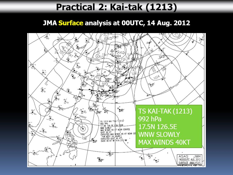 JMA Surface analysis at 00UTC, 14 Aug.