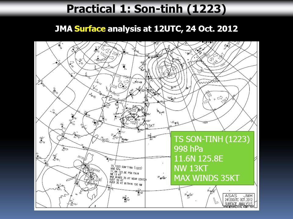 JMA Surface analysis at 12UTC, 24 Oct.