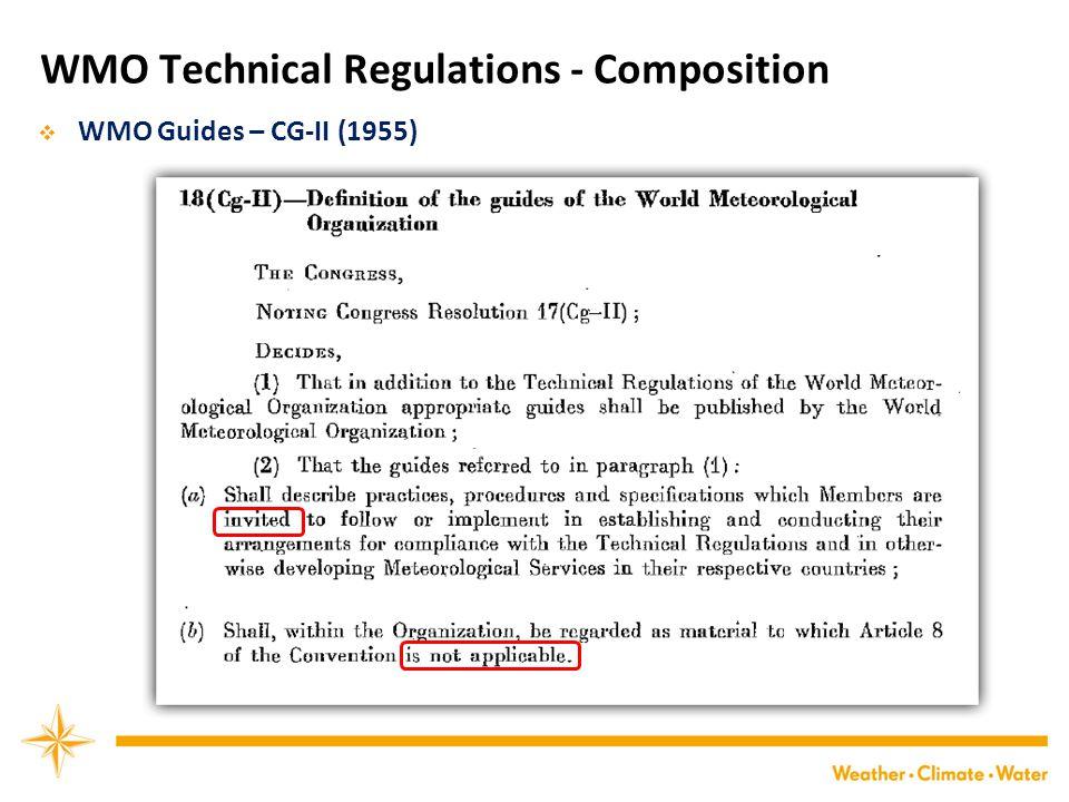 WMO Technical Regulations - Composition  WMO Guides – CG-II (1955)