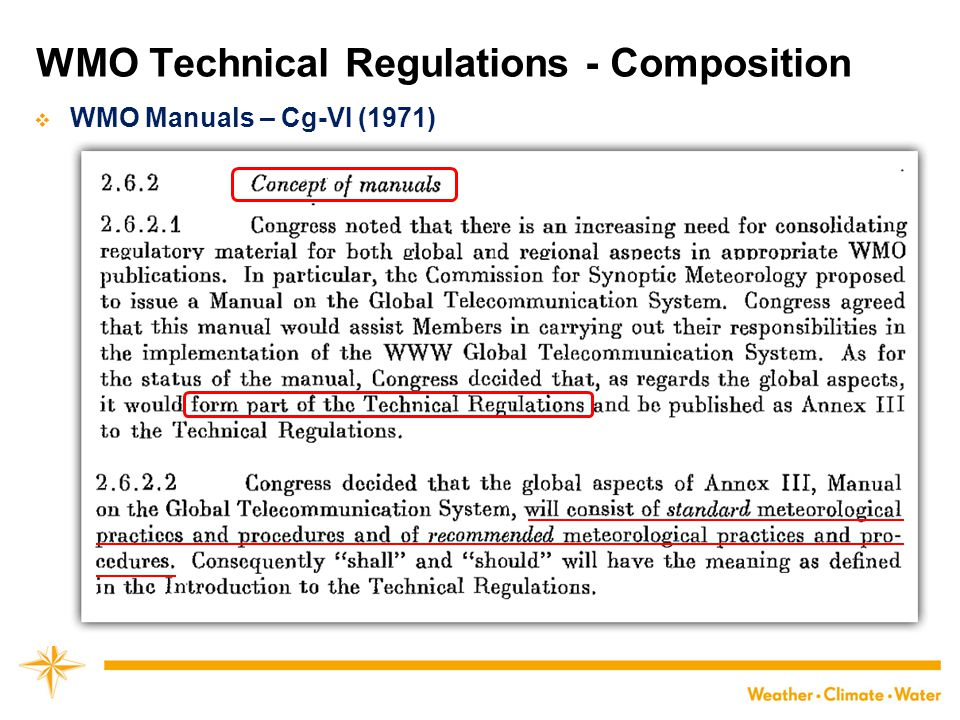 WMO Technical Regulations - Composition  WMO Manuals – Cg-VI (1971)