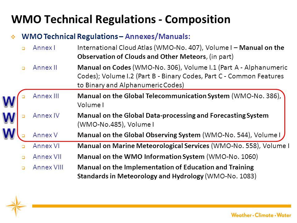 WMO Technical Regulations - Composition  WMO Technical Regulations – Annexes/Manuals:  Annex I International Cloud Atlas (WMO-No.
