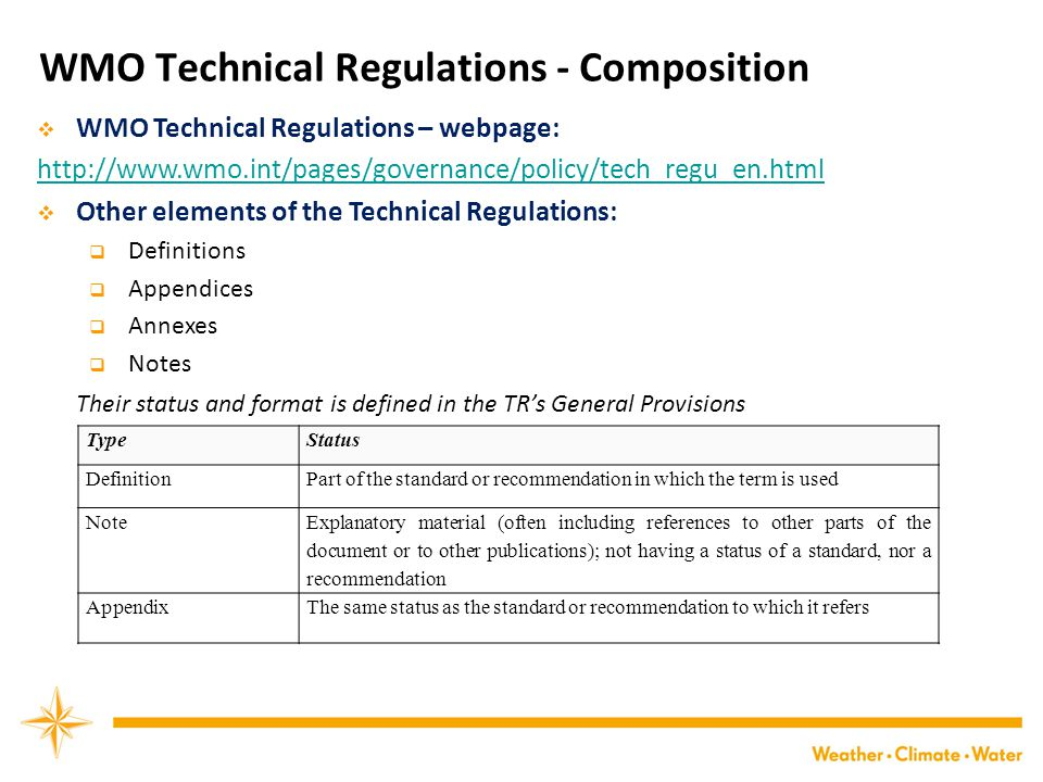 WMO Technical Regulations - Composition  WMO Technical Regulations – webpage: http://www.wmo.int/pages/governance/policy/tech_regu_en.html  Other elements of the Technical Regulations:  Definitions  Appendices  Annexes  Notes Their status and format is defined in the TR's General Provisions TypeStatus DefinitionPart of the standard or recommendation in which the term is used Note Explanatory material (often including references to other parts of the document or to other publications); not having a status of a standard, nor a recommendation AppendixThe same status as the standard or recommendation to which it refers