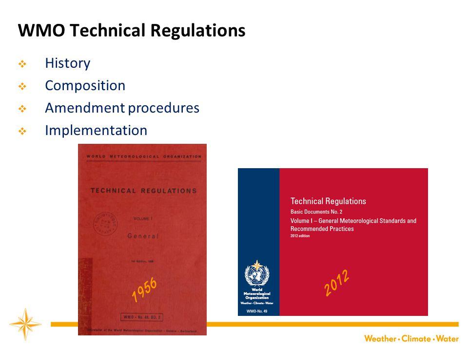 WMO Technical Regulations  History  Composition  Amendment procedures  Implementation 1956 2012