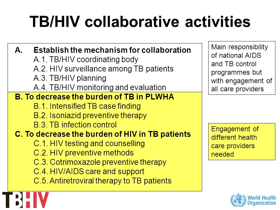 Current evidence Lack of strong evidence Potential for improved and equitable access to TB/HIV services through engagement of non-public health care providers in collaborative TB/HIV activities Urgent need for more research and documentation of ongoing initiatives
