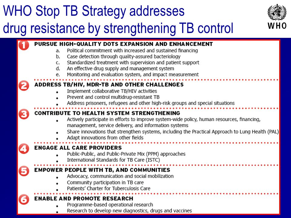 WHO Stop TB Strategy addresses drug resistance by strengthening TB control