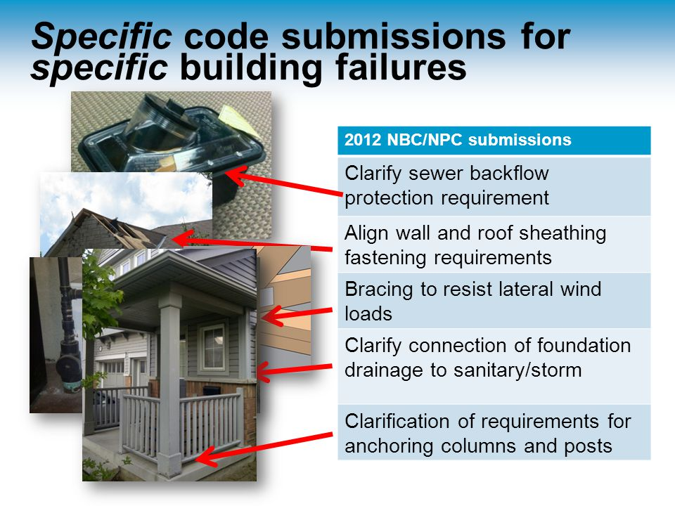 Specific code submissions for specific building failures 2012 NBC/NPC submissions Clarify sewer backflow protection requirement Align wall and roof sheathing fastening requirements Bracing to resist lateral wind loads Clarify connection of foundation drainage to sanitary/storm Clarification of requirements for anchoring columns and posts