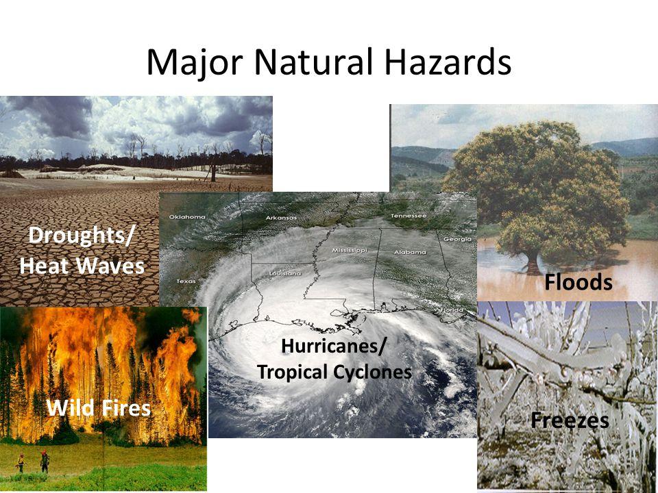 Major Natural Hazards Hurricanes/ Tropical Cyclones Droughts/ Heat Waves Floods Wild Fires Freezes