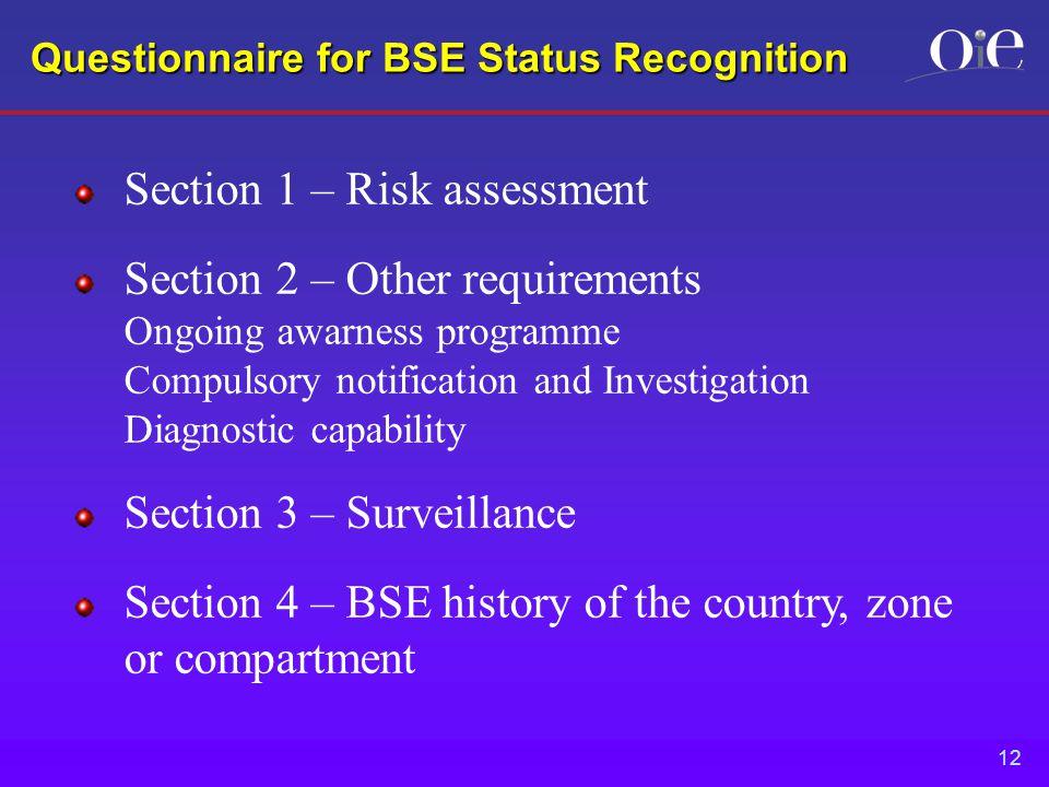 12 Questionnaire for BSE Status Recognition Section 1 – Risk assessment Section 2 – Other requirements Ongoing awarness programme Compulsory notification and Investigation Diagnostic capability Section 3 – Surveillance Section 4 – BSE history of the country, zone or compartment