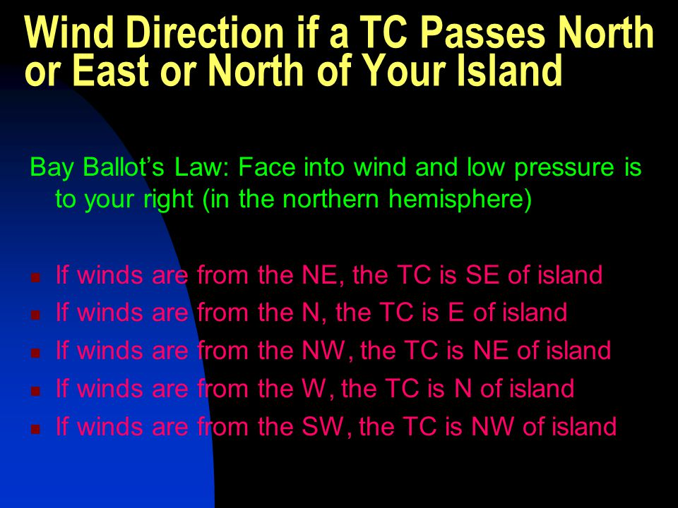 Wind Direction if a TC Passes North or East or North of Your Island Bay Ballot's Law: Face into wind and low pressure is to your right (in the norther