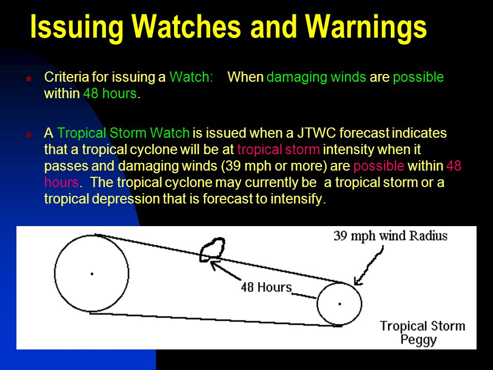 Issuing Watches and Warnings Criteria for issuing a Watch: When damaging winds are possible within 48 hours. A Tropical Storm Watch is issued when a J
