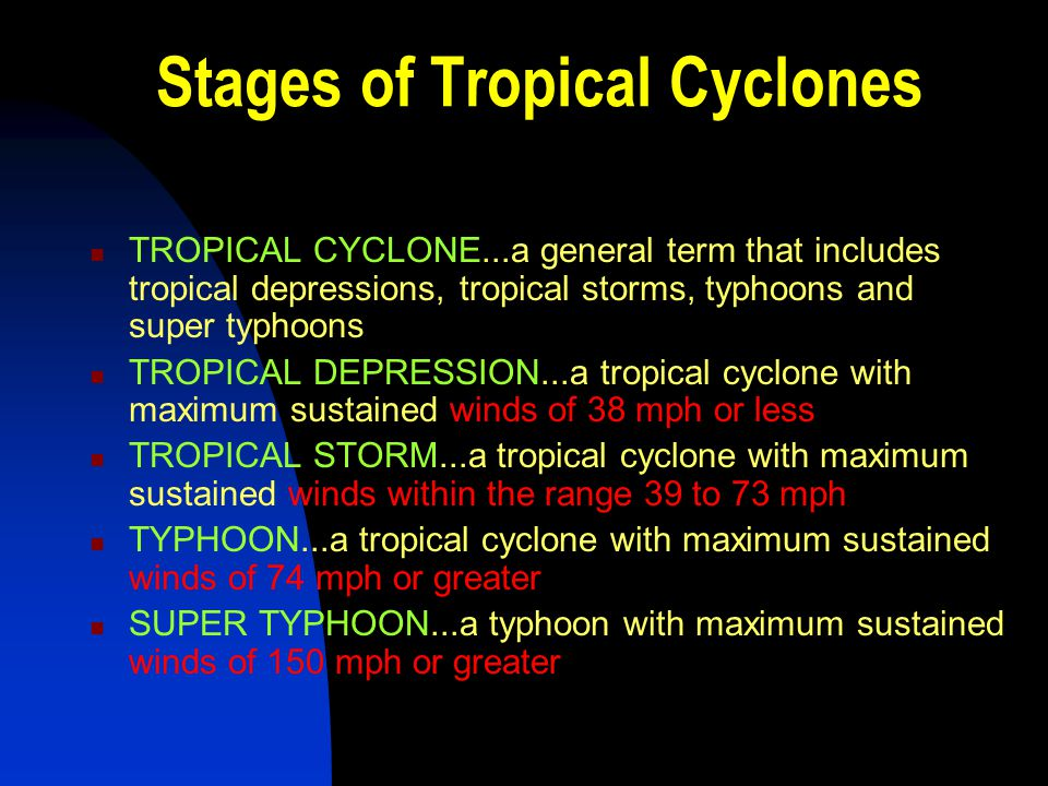 Stages of Tropical Cyclones TROPICAL CYCLONE...a general term that includes tropical depressions, tropical storms, typhoons and super typhoons TROPICA