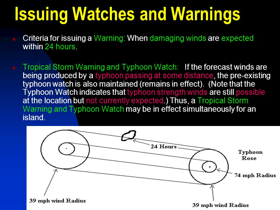 Issuing Watches and Warnings Criteria for issuing a Warning: When damaging winds are expected within 24 hours. Tropical Storm Warning and Typhoon Watc