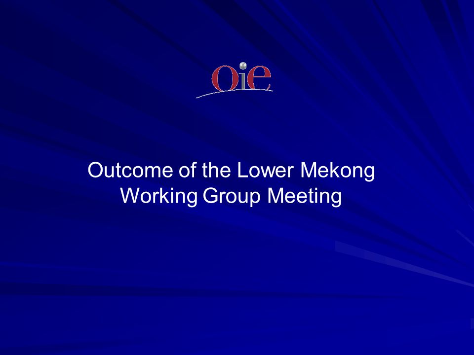 Outcome of the Lower Mekong Working Group Meeting