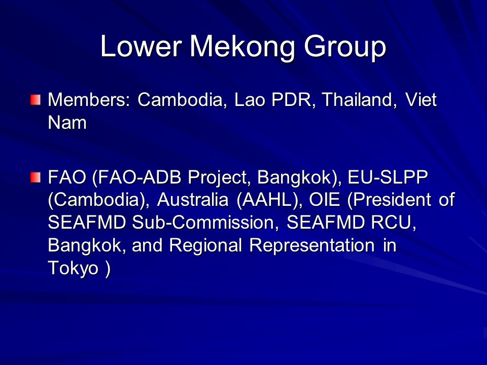 Lower Mekong Group Members: Cambodia, Lao PDR, Thailand, Viet Nam FAO (FAO-ADB Project, Bangkok), EU-SLPP (Cambodia), Australia (AAHL), OIE (President of SEAFMD Sub-Commission, SEAFMD RCU, Bangkok, and Regional Representation in Tokyo )