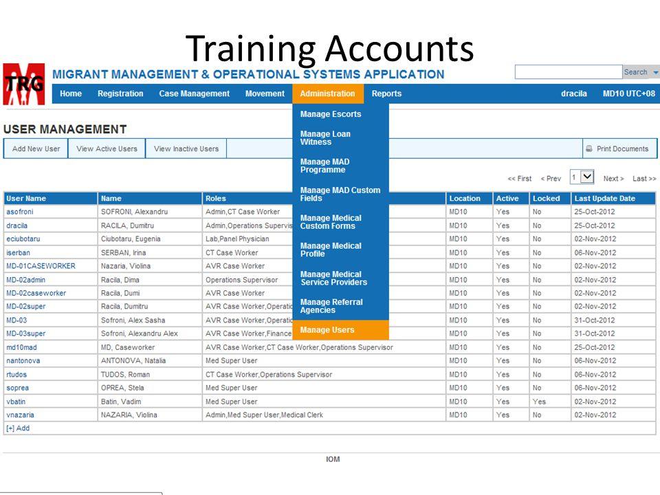 Training Accounts