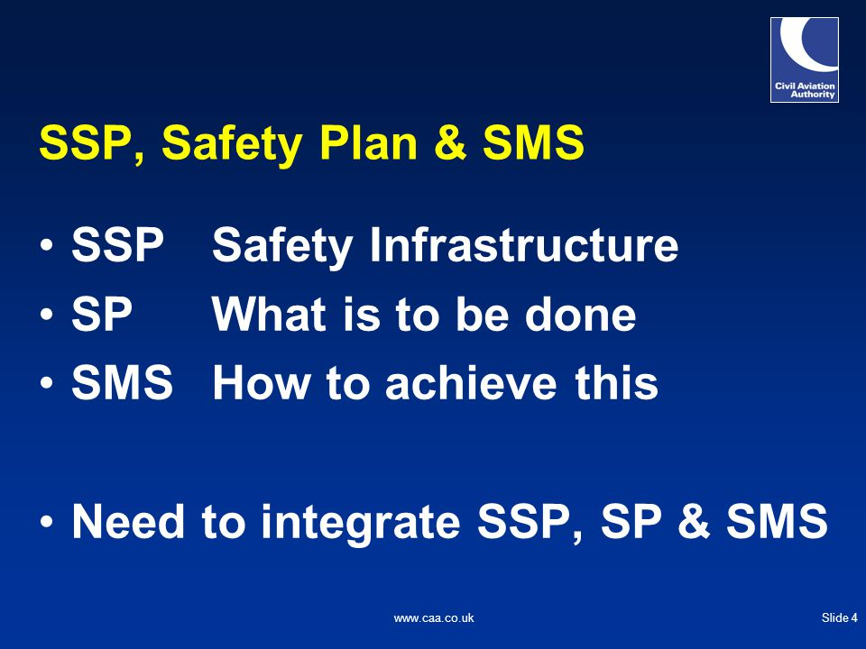 Slide 4www.caa.co.uk SSP, Safety Plan & SMS SSPSafety Infrastructure SPWhat is to be done SMSHow to achieve this Need to integrate SSP, SP & SMS