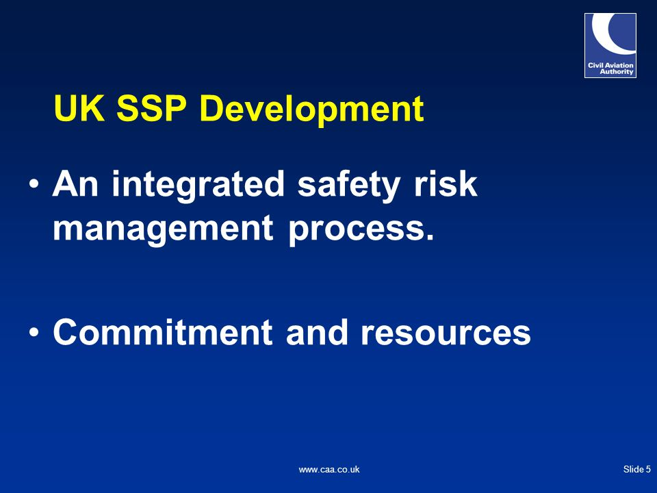 Slide 6www.caa.co.uk SSP Development – UK in Europe UK supporting the EASP UK SSP will complement the EASP Benefit for all