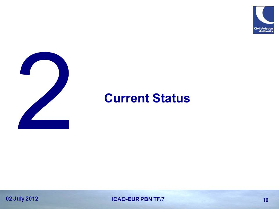 Current Status 2 02 July 2012 10 ICAO-EUR PBN TF/7