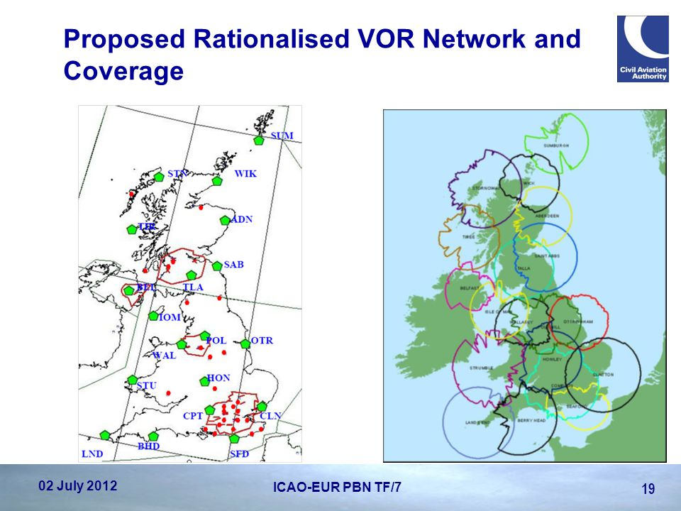 Proposed Rationalised VOR Network and Coverage 02 July 2012 19 ICAO-EUR PBN TF/7