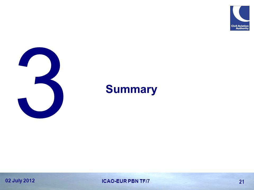 Summary 3 02 July 2012 21 ICAO-EUR PBN TF/7