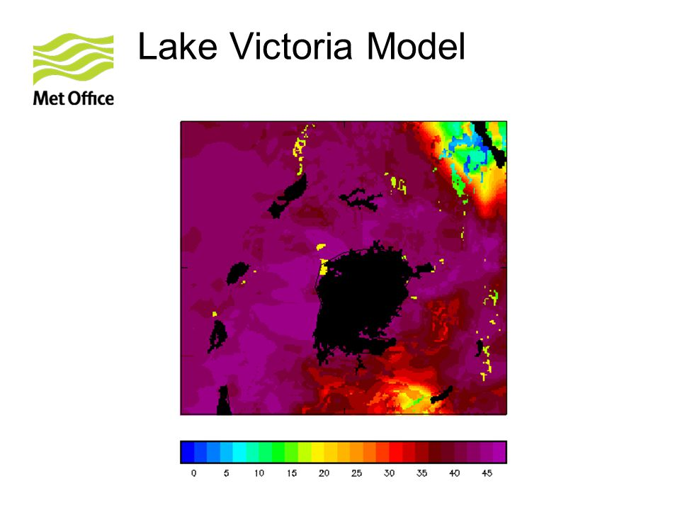 Lake Victoria – model summary Initial model fields are downscaled (no data assimilation) from the 25km global configuration of the Met Office Unified Model (UM) to a 4km (0.036°), 70 level, partially convection-resolving configuration of the UM over the Lake Victoria basin.