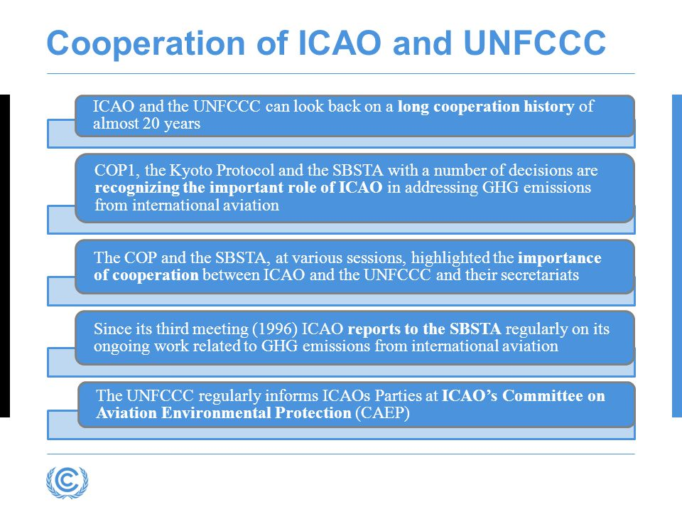 Cooperation of ICAO and UNFCCC ICAO and the UNFCCC can look back on a long cooperation history of almost 20 years COP1, the Kyoto Protocol and the SBS