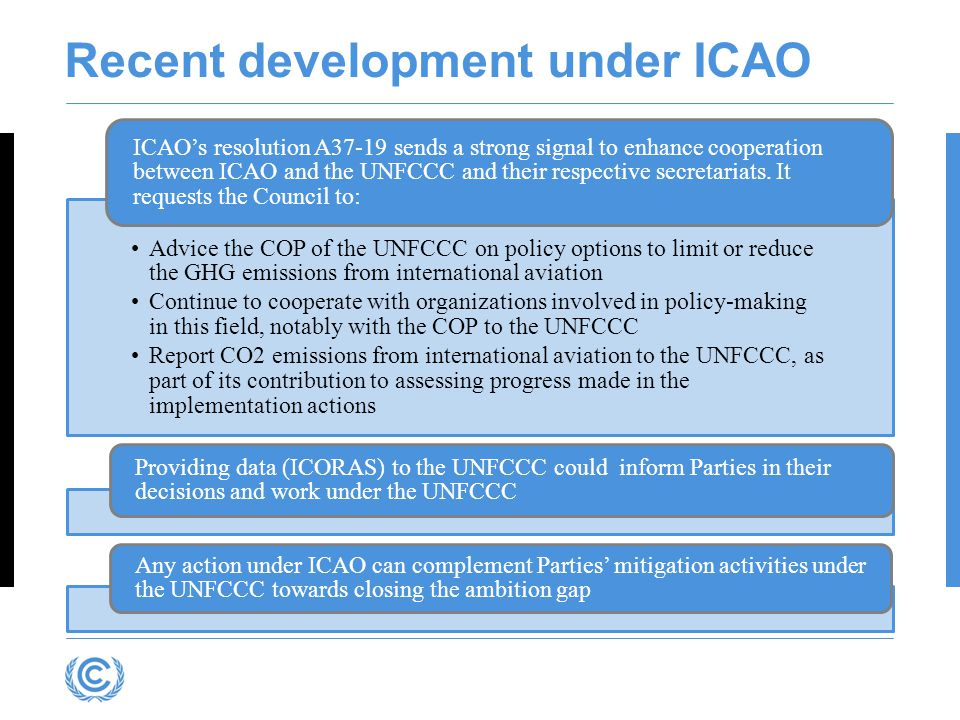 Recent development under ICAO Advice the COP of the UNFCCC on policy options to limit or reduce the GHG emissions from international aviation Continue