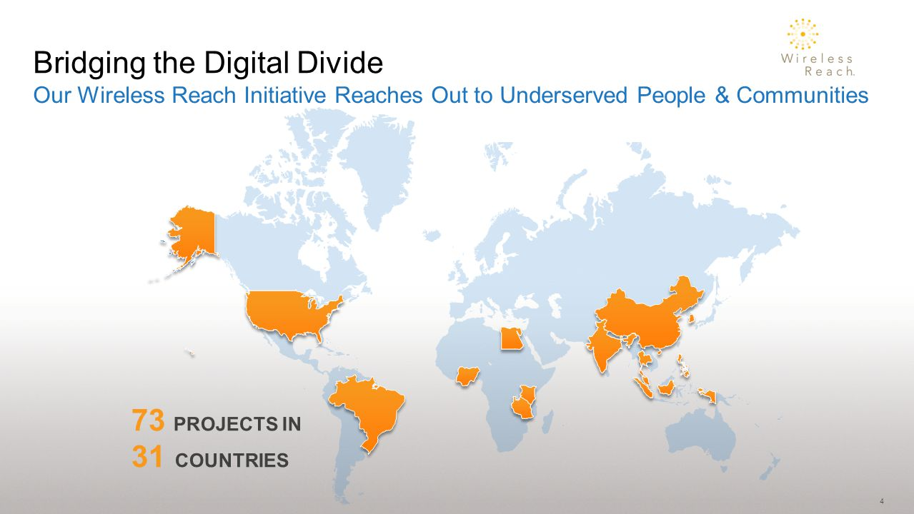 4 Our Wireless Reach Initiative Reaches Out to Underserved People & Communities Bridging the Digital Divide