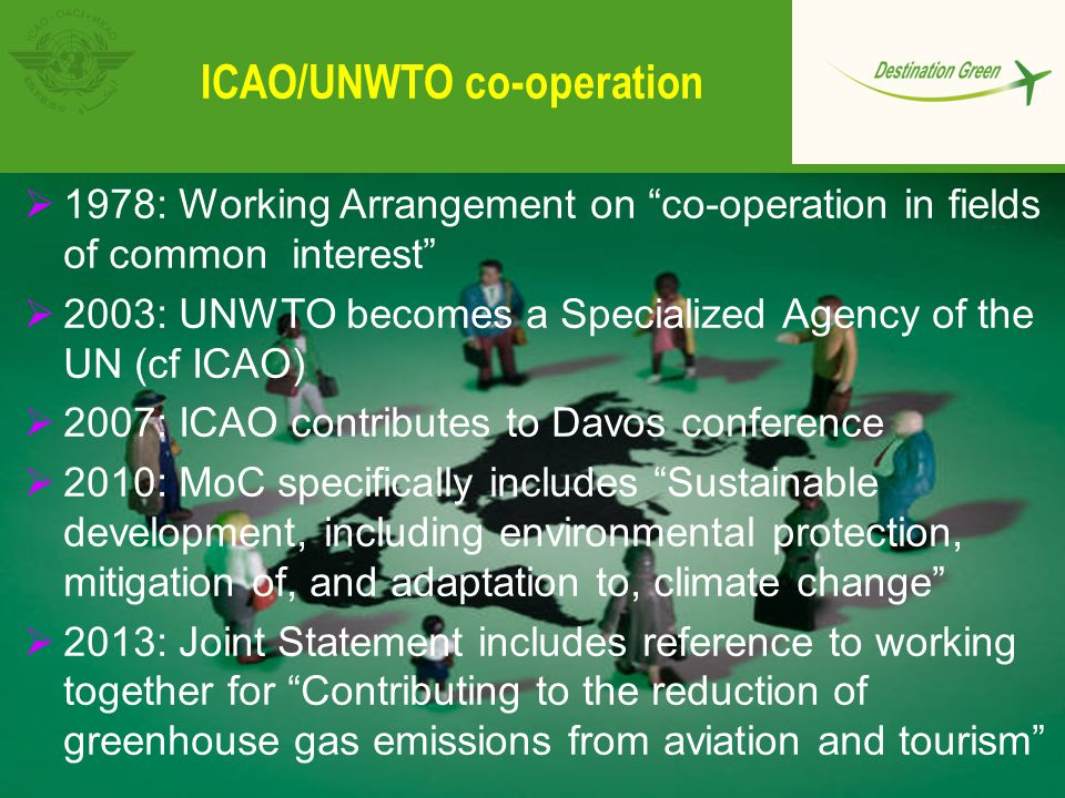 """ICAO/UNWTO co-operation  1978: Working Arrangement on """"co-operation in fields of common interest""""  2003: UNWTO becomes a Specialized Agency of the U"""