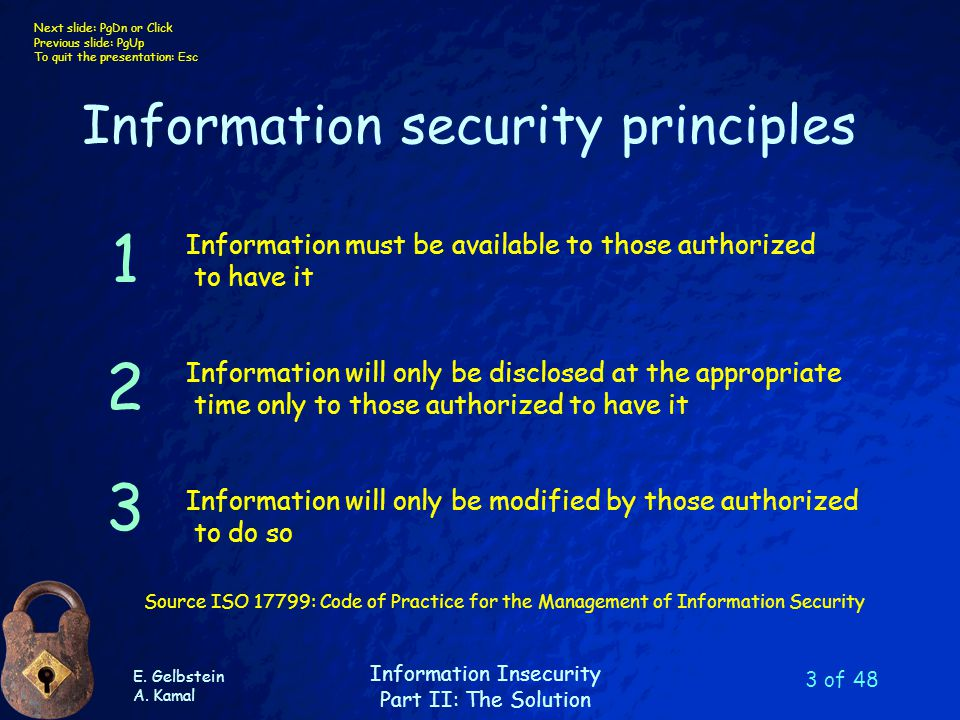 E. Gelbstein A. Kamal Information Insecurity Part II: The Solution Next slide: PgDn or Click Previous slide: PgUp To quit the presentation: Esc 3 of 4