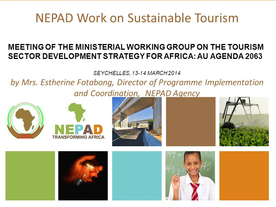 Summary of Presentation 1.Tourism and Africa's Development 2.AU-NEPAD Tourism Action Plan (TAP) 3.Goals and Objectives of TAP 4.TAP Focus Areas 5.Progress of TAP Implementation 6.Tourism and Agenda 2063 7.Review of TAP 8.Conclusion