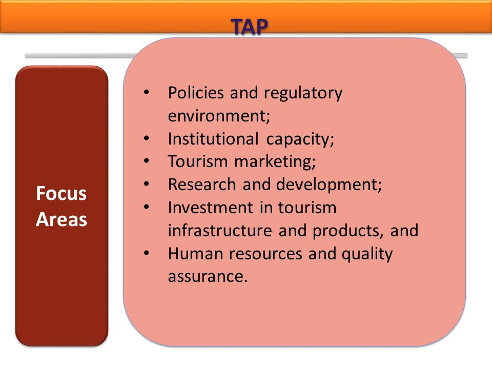 TAP Policies and regulatory environment; Institutional capacity; Tourism marketing; Research and development; Investment in tourism infrastructure and