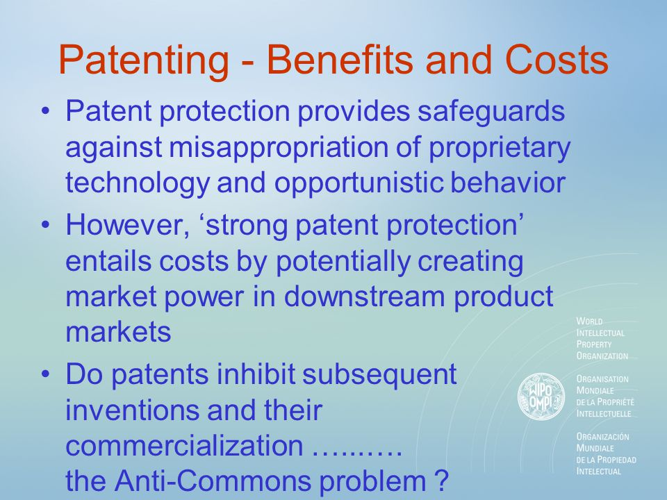 Patenting - Benefits and Costs Patent protection provides safeguards against misappropriation of proprietary technology and opportunistic behavior How