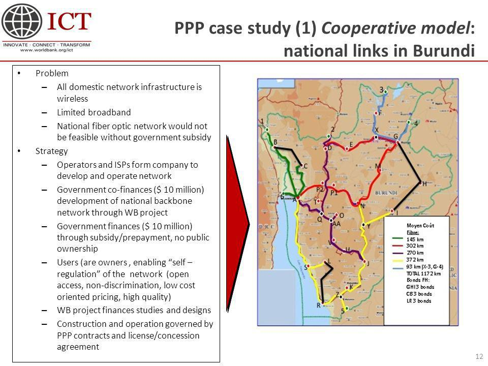 PPP case study (1) Cooperative model: national links in Burundi 12 Problem – All domestic network infrastructure is wireless – Limited broadband – Nat