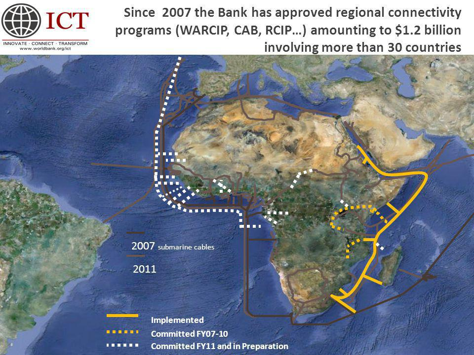 2011 2007 submarine cables Implemented Committed FY07-10 Committed FY11 and in Preparation Since 2007 the Bank has approved regional connectivity programs (WARCIP, CAB, RCIP…) amounting to $1.2 billion involving more than 30 countries