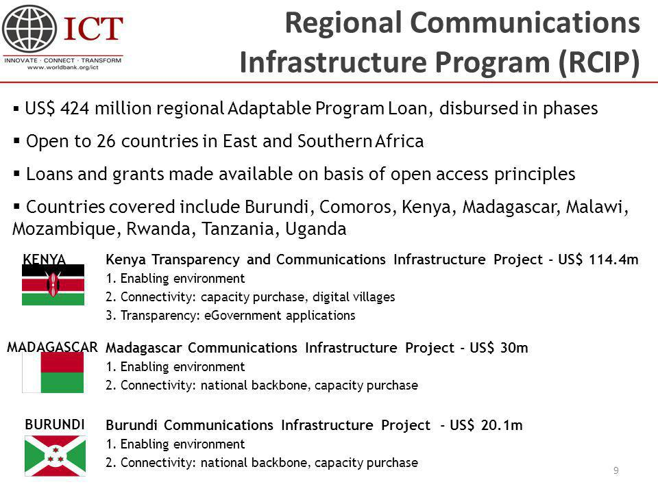 Regional Communications Infrastructure Program (RCIP) 9 Burundi Communications Infrastructure Project - US$ 20.1m 1. Enabling environment 2. Connectiv