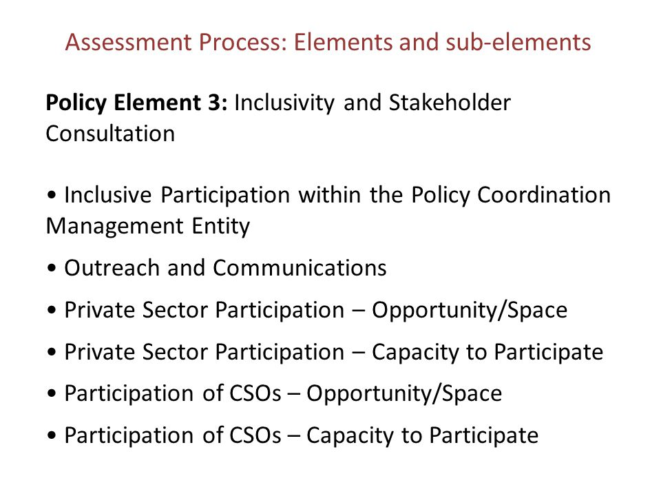 Assessment Process: Elements and sub-elements Policy Element 3: Inclusivity and Stakeholder Consultation Inclusive Participation within the Policy Coordination Management Entity Outreach and Communications Private Sector Participation – Opportunity/Space Private Sector Participation – Capacity to Participate Participation of CSOs – Opportunity/Space Participation of CSOs – Capacity to Participate