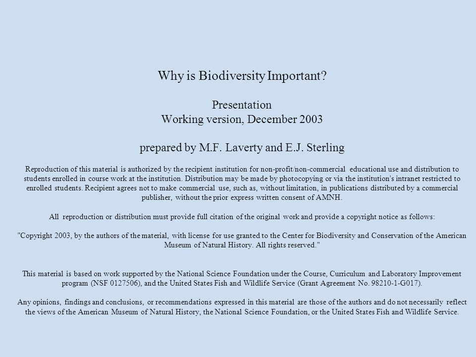 Why is Biodiversity Important? Presentation Working version, December 2003 prepared by M.F. Laverty and E.J. Sterling Reproduction of this material is
