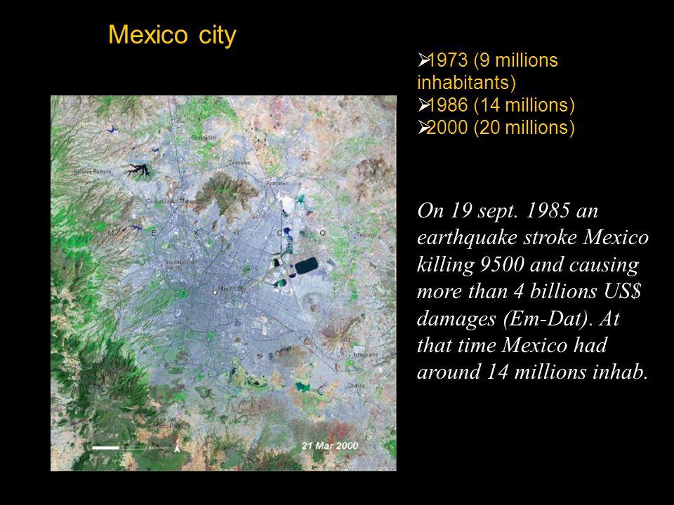 Mexico city  1973 (9 millions inhabitants)  1986 (14 millions)  2000 (20 millions) On 19 sept. 1985 an earthquake stroke Mexico killing 9500 and ca